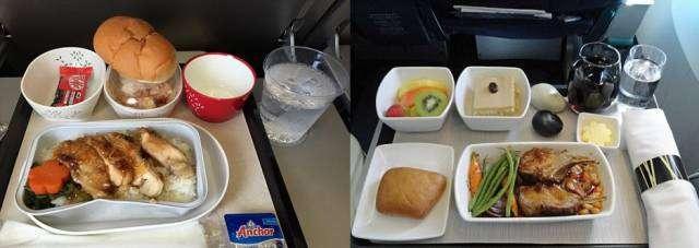 Обіди пасажирів економ-класу та бізнес-класу в різних авіакомпаніях (14 фото)