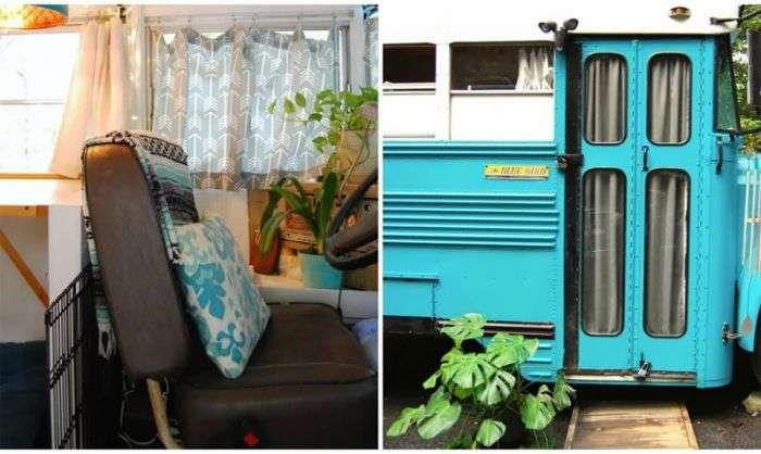 Будинок на колесах з старого шкільного автобуса (15 фото)