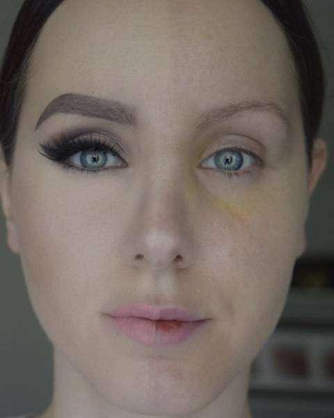 Дівчата фарбують тільки одну половину обличчя (25 фото)