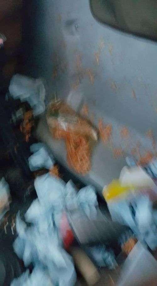 Контейнер з обідом влетів у лобове скло (4 фото)